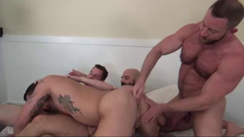 Assholes Must Be Satisfied, starring Adam Russo, Dayton O'Connor, Shay Michaels and Tate Ryder, produced by Dark Alley Media and Raw Fuck Club. Video Categories: Bareback and Muscles.
