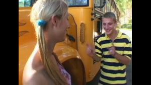 Blonde  Nympho School Bus Blowjob.