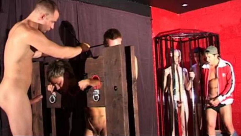 Gangbang Orgy in the Bondage Dungeon, starring Will Forbes, James Allen, Lex Blond, Kris Denver and Matt Brookes, produced by Adult Male UK. Video Categories: Threeway, GangBang, Safe Sex, Masturbation, Orgies, BDSM, College Guys, Anal, Uncut, Fetish, Euro and Blowjob.