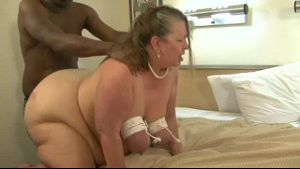 Fat White Grandma Tied Up and Made a Slave.