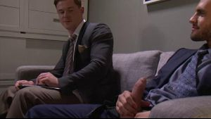 Corporate Waiting Room Cocks Come Out.
