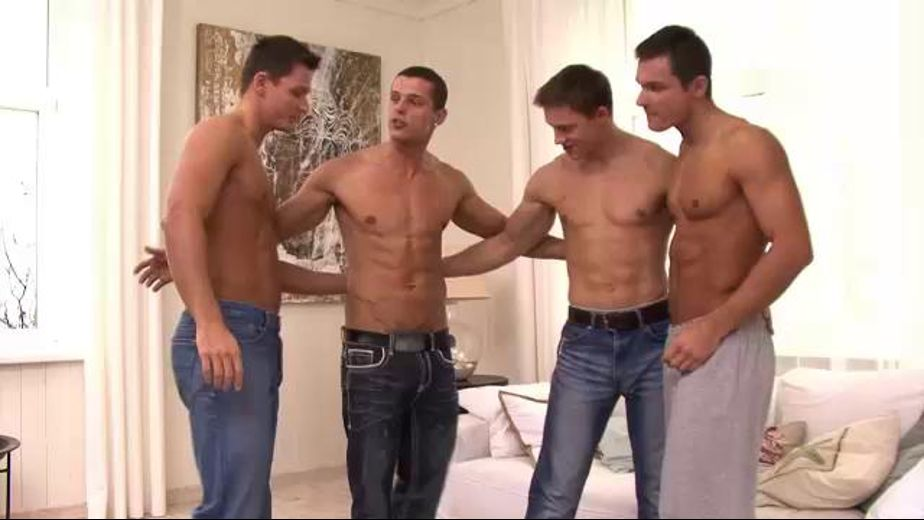 Fourway Orgy With the Peters Twins, starring Sascha Chaykin, Cody Clark, Milo Peters and Elijah Peters, produced by Bel Ami and Lukas Ridgeston. Video Categories: Euro, Muscles, Blowjob and Orgies.