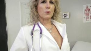 Impatient Doctor Cougar Waits for Her Patient.