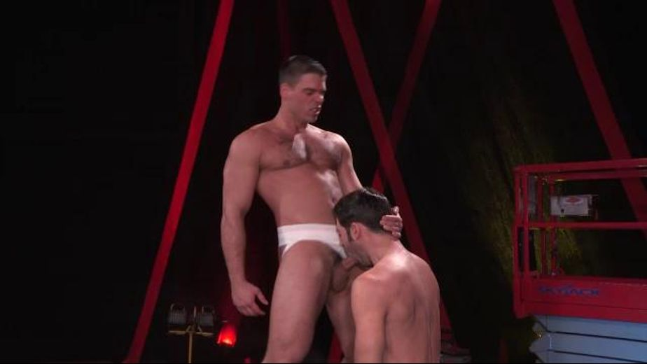 Theater of Man Funk Concentrated, starring Derek Atlas, Dario Beck, David Benjamin and Sebastian Kross, produced by Raging Stallion Studios and Falcon Studios Group. Video Categories: Blowjob and Muscles.