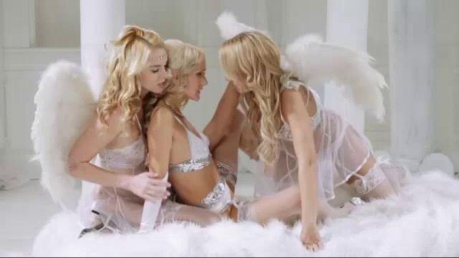 Angels in Heaven Do A Sinful Threesome, starring Zoey Monroe, Natasha Voya and Cosmia Dunkin, produced by Hustler. Video Categories: Lesbian, Blondes and Threeway.