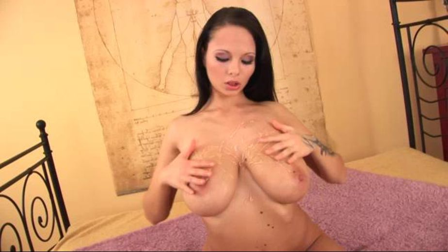 Her Bazooms Oiled for Your Pleasures, produced by Tug Zone. Video Categories: College Girls, Natural Breasts, Big Tits, Masturbation and Brunettes.