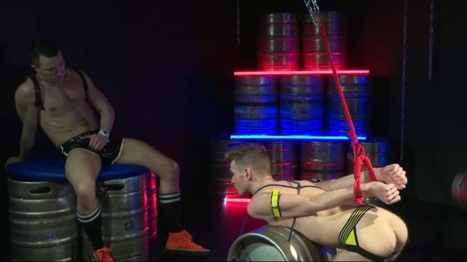 Chained and Roped to Beer Kegs, starring David Lambert and Seb Evans, produced by UKHotJocks. Video Categories: Masturbation, BDSM, Fetish, Euro and Blowjob.