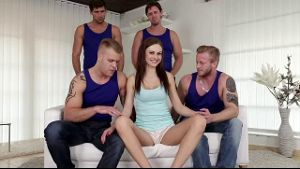 Tina Kay in a Four Dick Gang Bang.