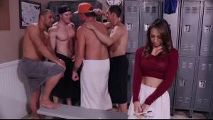 A Slutty Reporter In The Locker Room.