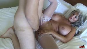 Sally D'Angelo Takes Down A Ten Inch Cock.