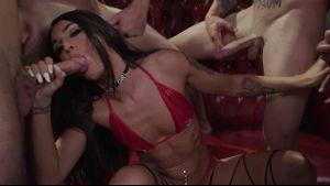 Khloe Kay Has A Transexual Gangbang.