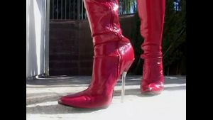 Bound MILF in Red Patent Leather Boots.